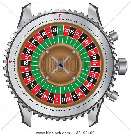 Symbolic gaming wheel roulette table in a frame of watches.