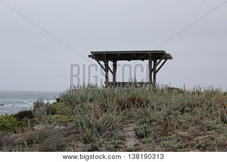 Wooden gazebo overlooking the ocean on a small hill surrounded by natural foliage in Pacific Grove, California on an overcast day