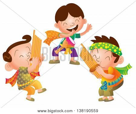 Illustration of Cute cartoon Traditional Thai Musician group vector.Three man cartoon play thai Traditional music culture.