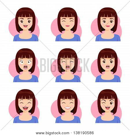 Woman shot hair face emotions expression icons and beauty woman emotions vector.
