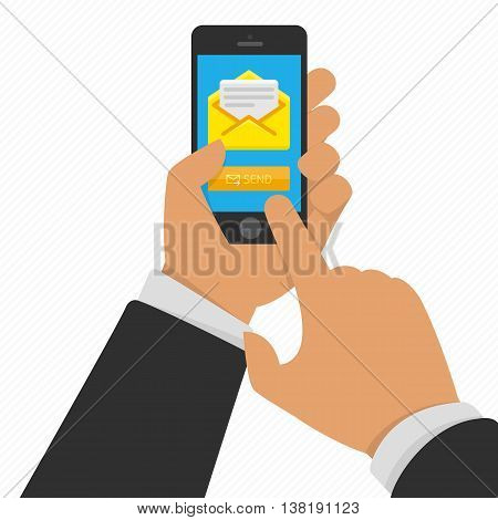 Vector illustration of hand touching smart phone with Email symbol on the screen. Messaging concept. Message send on mobile phone. Smart phone with email social network in hand.