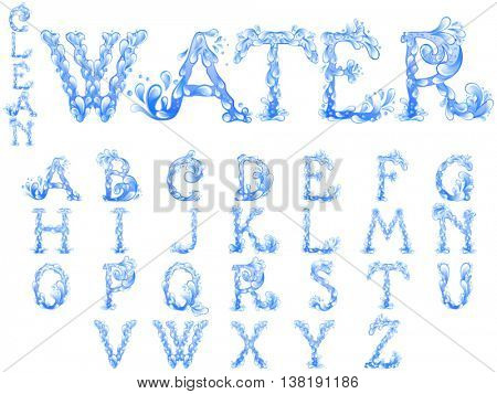 Water splash alphabet