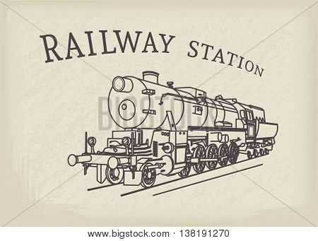 Steam locomotive illustration. Vector retro train on grunge paper background