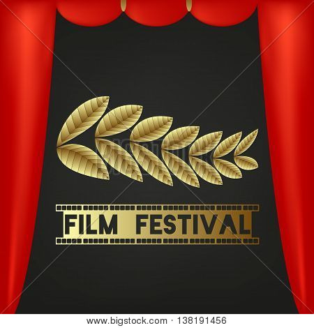 Golden Bough. Leaflets. Festival symbol. Text - festival film. Camera film 35 mm roll gold, festival movie poster. Red curtains, black background. Vector illustration.