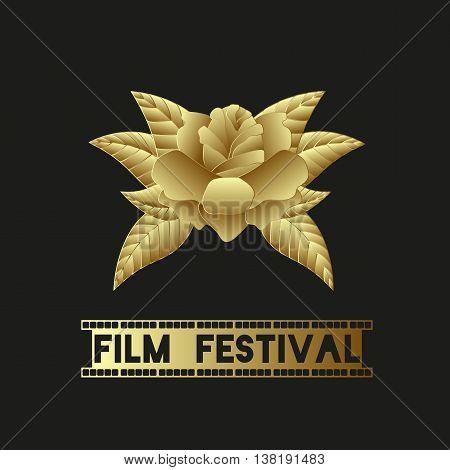 Golden Rose. Wonderful golden flower, symbol of beauty. Text - Film Festival, in the form of film. Sample. Vector.