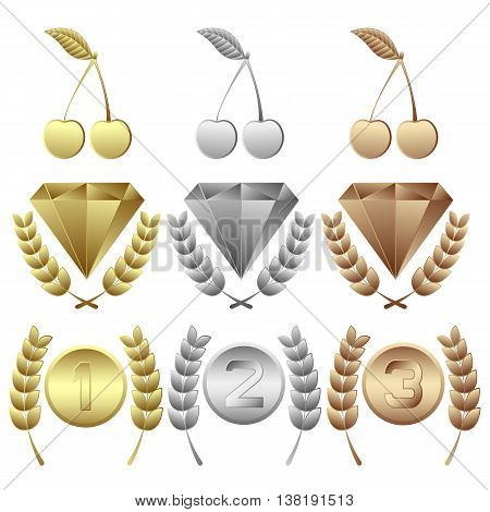 1st place - gold award. 2nd place - silver award. 3rd place - bronze award. Various awards: cherry, jewel, medal with wreath. Vector set. High Quality. It can be used in a web.