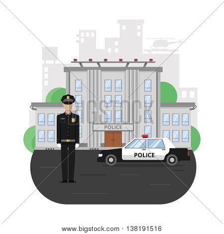 Police building composition with policeman on road near official car on skyscrapers background vector illustration