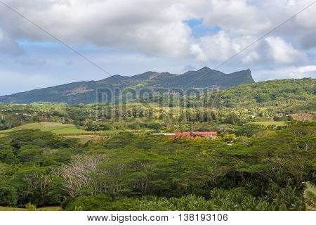 View On Chamarel With Rum Factory From Plaine Champagne Mauritius