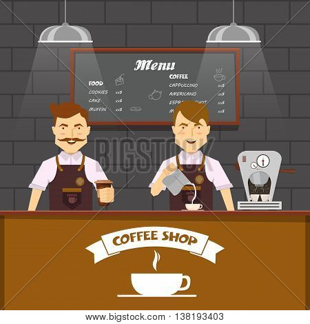 Barista team at work design with two cheerful men making coffee behind brown bar counter vector illustration