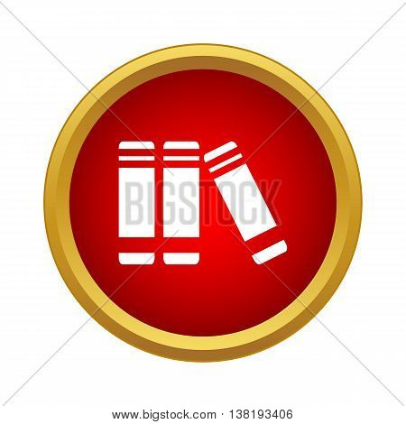 Books on the shelf icon in simple style in red circle