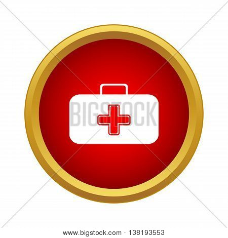 First aid case icon in simple style in red circle