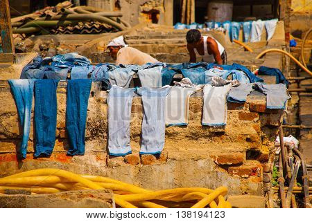 Laundry Service In India. Laundry, Dry Things On The Clothesline. Mumbai.