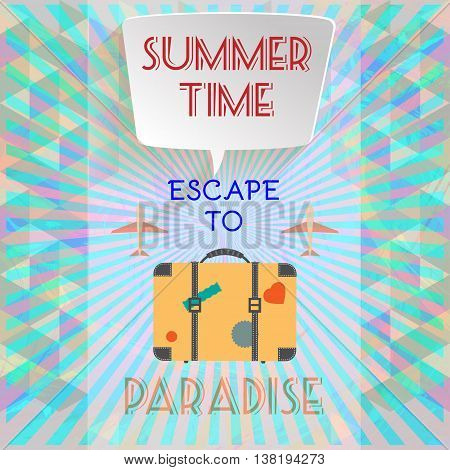 Abstract summer time infographic with book now and escape to paradise text planes and travel accessories Digital vector image