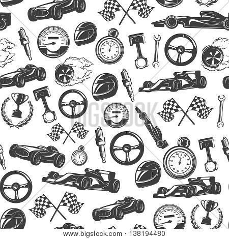 Racing emblems seamless background pattern with isolated equipment and tools for racing vector illustration