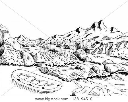 Raft river mountain boat graphic art black white landscape sketch illustration vector