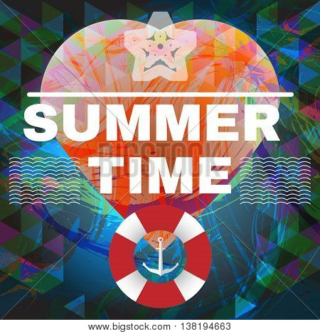 Abstract summer time infographic waves life buoy and a big heart. Digital vector image