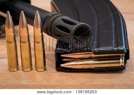 AR 15 Ammunition in Magazine 300 AAC Flash Suppressor 2