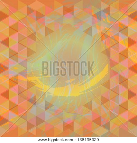 Abstract design with brush strokes and colored triangles. Digital vector image