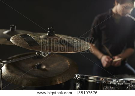 Close Up Of Cymbals On Drummer's Drum Kit