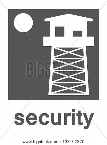 Vector logo of a watchtower and a full moon on a white background with the word security in grey text underneath