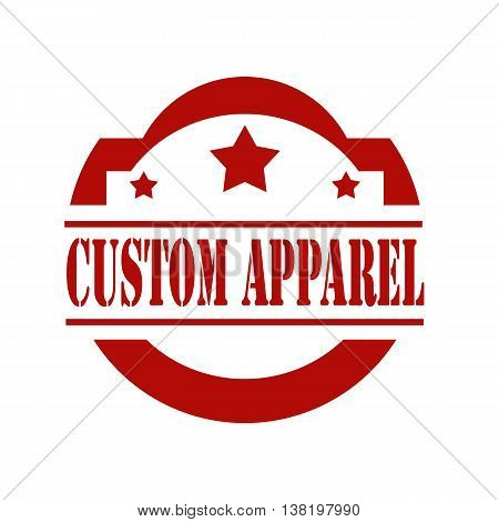 Red stamp with text Custom Apparel,vector illustration