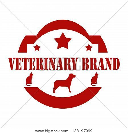 Red stamp with text Veterinary Brand,vector illustration