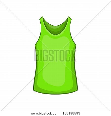 Green mens t-shirt icon in cartoon style isolated on white background. Clothing symbol