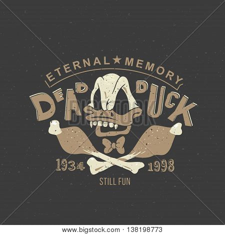 Funny vintage drawing for a tattoo or print on t-shirt or clothing: cartoon skull Duck skeleton.