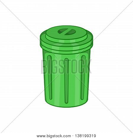 Trash can icon in cartoon style isolated on white background. Garbage symbol