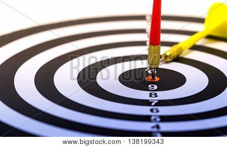 Darts arrows in the target center target dart with arrow isolated on white background abstract background to target