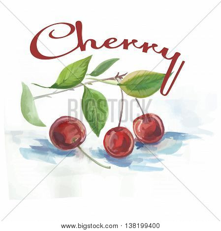 watercolor label with cherry and the words