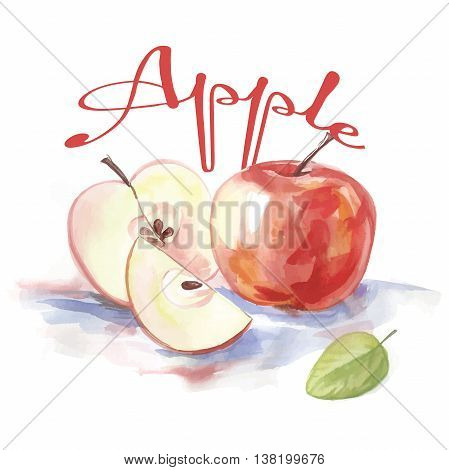 watercolor label with apple and the words