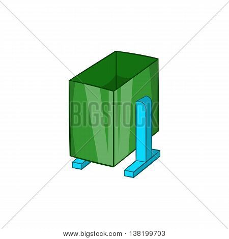 Green trash on legs icon in cartoon style isolated on white background. Garbage symbol