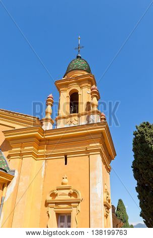 NICE FRANCE - APRIL 11 2016: Belfry of Church of Chateau Cemetery in Nice France. Chateau Cemetery was founded in 1783 and some of Nice most famous people were buried there