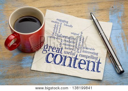 great content writing word cloud on a napkin with a cup of coffee, business writing and content mark