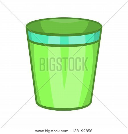 Empty trash can icon in cartoon style isolated on white background. Garbage symbol