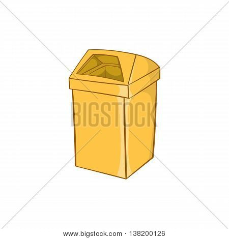 Yellow trash icon in cartoon style isolated on white background. Garbage symbol