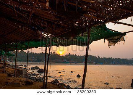 Arambol Beach, Goa State, India. Sunset.