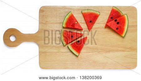 Water Melon Slice On Wood Plate Isolated