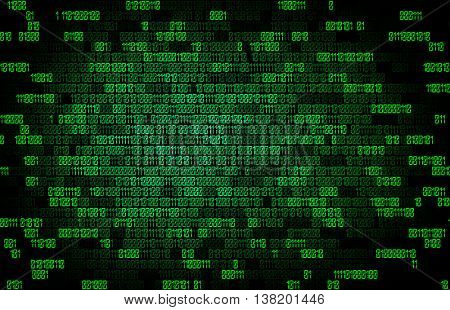 green binary code tech background