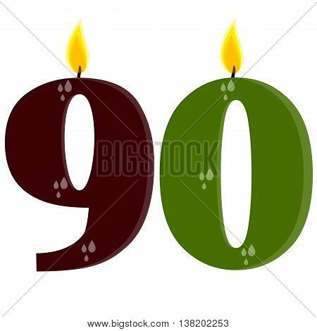Fully vector set of stylized birthday candles (90) brown and green