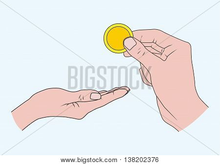 Hand gives alms. The Christian story. Vector illustration.