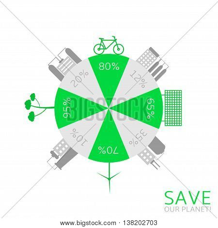 Energy saving technologies. Green earth. Green bicycle. Green house. Solar energy system. Wind turbine. Plants and factories