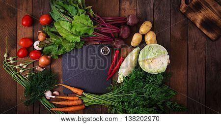 The Main Ingredients - Vegetables For Cooking Borsch (beetroot, Cabbage, Carrots, Potatoes, Tomatoes