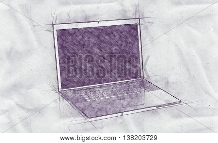 Pencil drawing of an open laptop computer with guide lines on a sheet of crumpled grungy textured paper with copy space