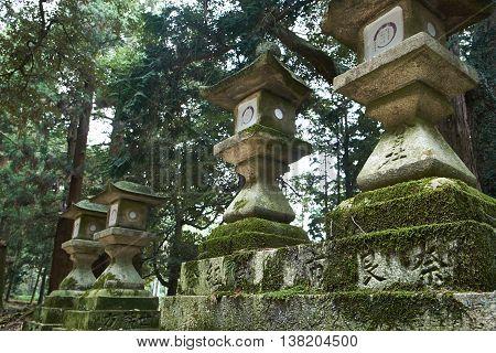Stone lanterns of Kasuga Grand Shrine, Nara, Japan.
