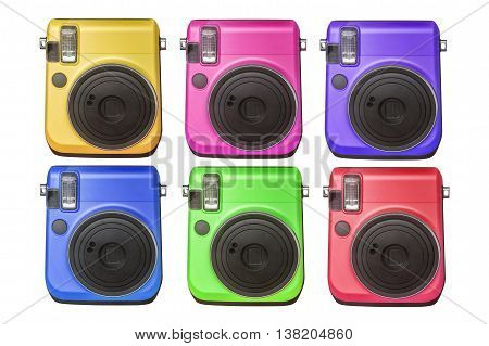 compact digital camera in various colors isolated on white background