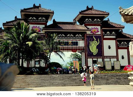 San Ya, Hainan, China: The imposing entrance gate to the Sanya Nanshan (South Mountain) Temple built in a pre-Tang dynasty style *