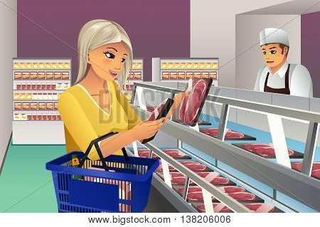A vector illustration of woman choosing a frozen meat at supermarket