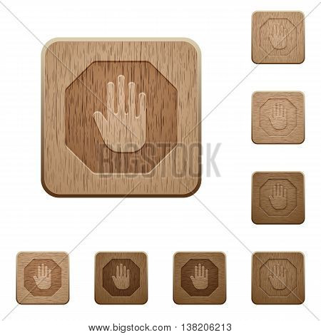 Set of carved wooden Stop sign buttons in 8 variations.